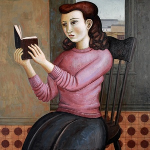 painting of girl reading